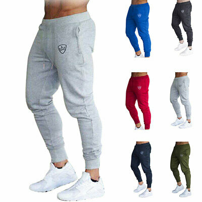 Mens Slim Fit Tracksuit Sport Gym Skinny Jogging Joggers Sweat Pants Trousers