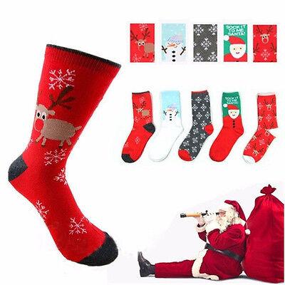 Cozy Christmas Santa Snowflake Deer Design Womens Winter Warm Cotton Socks Gifts
