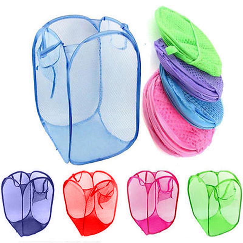 Large Pop Up Foldable Laundry Basket Mesh Hamper Washing Clo