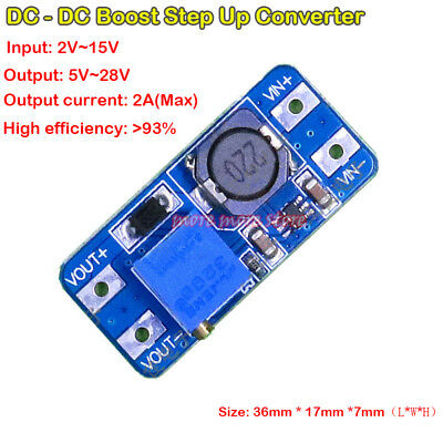2a Dc-dc 2v-15v To 5v-28v 12v Step Up Converter Mini Power Boost Regulator Board