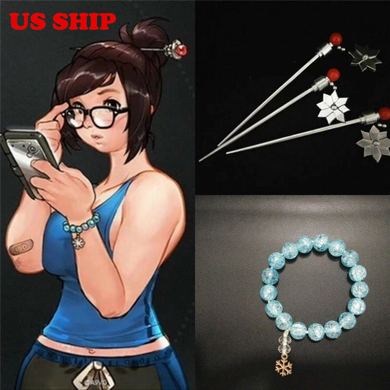 US Game Overwatch OW Mei Crystal Bracelet Handmade Hairpin Cosplay Props Gifts - $12.99
