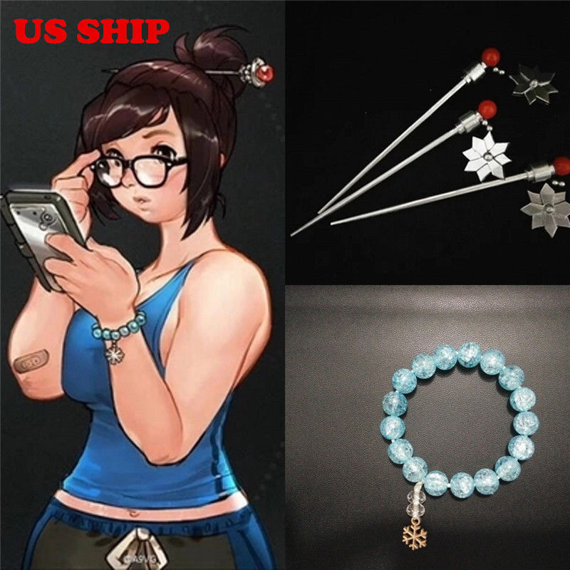 US! Game Overwatch OW Mei Crystal Bracelet Handmade Hairpin Cosplay Props Gifts