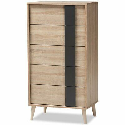 Baxton Studio Lisen 5 Drawer Modern Chest in Light Oak and Grey