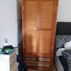 DOUBLE WARDROBE SOLID PINE AND RATTAN