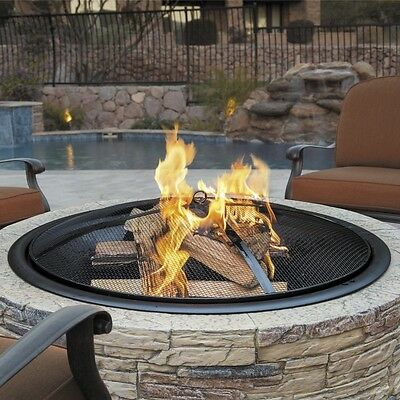 Outdoor Fire Pit Cast Stone 35 Fireplace Burning Wood Screen Bowl Backyard Patio