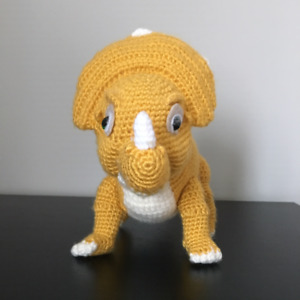 Crocheted baby triceratop, Cera