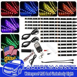12x Motorcycle ATV RGB LED Neon Under Glow Light Strip Kit For Harley Davidson