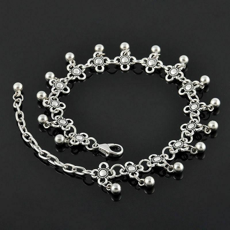 "Gypsy Style Flower & Bell Ball Sterling Silver Beach/Barefoot Ankle Bracelet 10"""