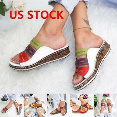 Ladies Womens Wedg Heel Slip On Summer Mules Sandals Platform Shoes Size 4.5-11 ()