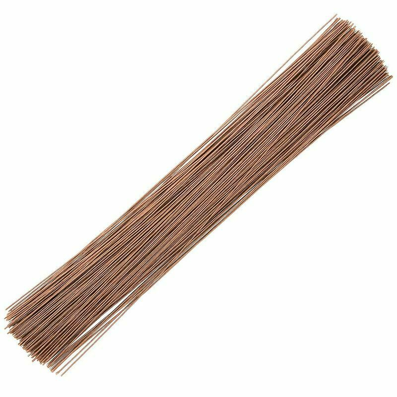 """240x Floral Flower Wire Stems, Wrapped 18 Gauge for DIY Crafts Wedding Brown 16"""""""