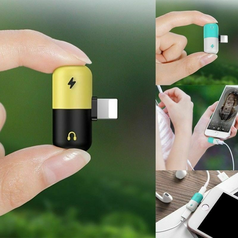 2 in 1 Dual Lighting Adapter Charging Splitter Audio Cable F