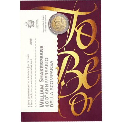 "2016 San Marino 2 Euro Brilliant Uncirculated Coin ""Shakespeare 400 Years"""