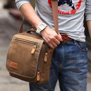 8704cb1b967 Men Canvas Shoulder Bag Leather Military Messenger Bag Satchel Vintage  Handbag