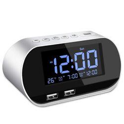 Alarm Clock Radio, FM with Sleep Timer, Dual USB Port Charging, Digital
