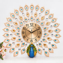 3D Large Wall Clock Luxury Peacock Metal Living Room Wall Watch Home Decor Gift