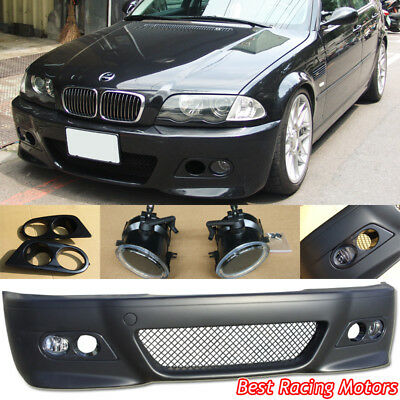 (M3 Style Front Bumper + Glass Fog + Dual Hole Covers Fit BMW E46 4dr 3-Series)