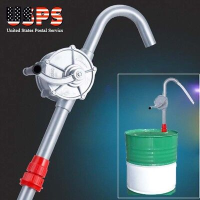 Manual Hand Crank Rotary Pump Oil Fuel Transfer Suction Drum Barrel 55 Gallon US