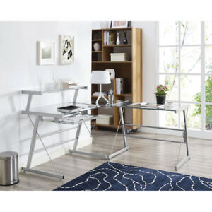 Broderick Computer Corner Desk - Clear Glass