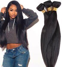 Straight 300g 3 Bundles Unprocessed Virgin Human Hair Weave Extensions Thick UKF