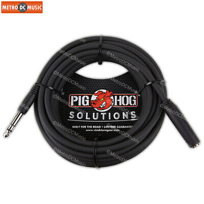 "Pig Hog 25 ft Headphone Extension Cable 1/4"" Stereo TRS Male to Female Cord NEW for sale  Shipping to India"