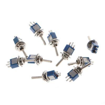 10pcs Ac 250v1.5a 125v3a Spdt 3-pin Onon 2 Position Mini Toggle Switch Blue