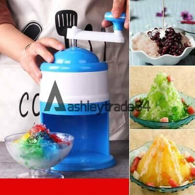 Portable Hand Crank Manual Ice Shaver Crusher Shredding Snow Cone Maker Machine