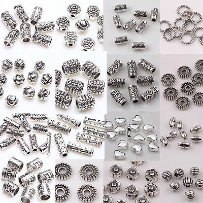 Wholesale 50 100pcs Silver Plated Loose Spacer Beads Charms Jewelry Making DIY