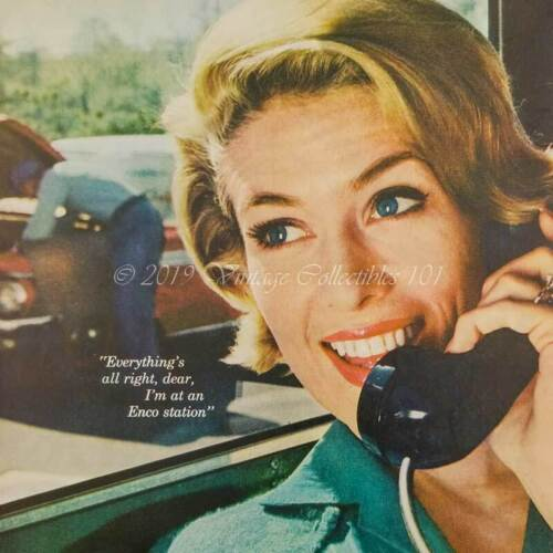 1962 Humble Enco Gas Station Wife phone broke down car photo art decor print ad