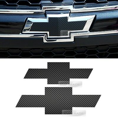 Front Rear Black Carbon Bowtie Emblem Decal Sticker For Chevy 2011-2018 Captiva