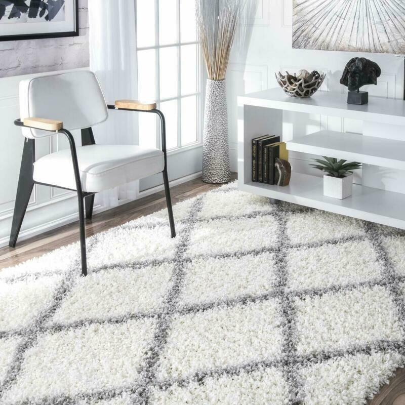 nuLOOM Cozy Soft and Plush Diamond Trellis Shag Area Rug, Wh