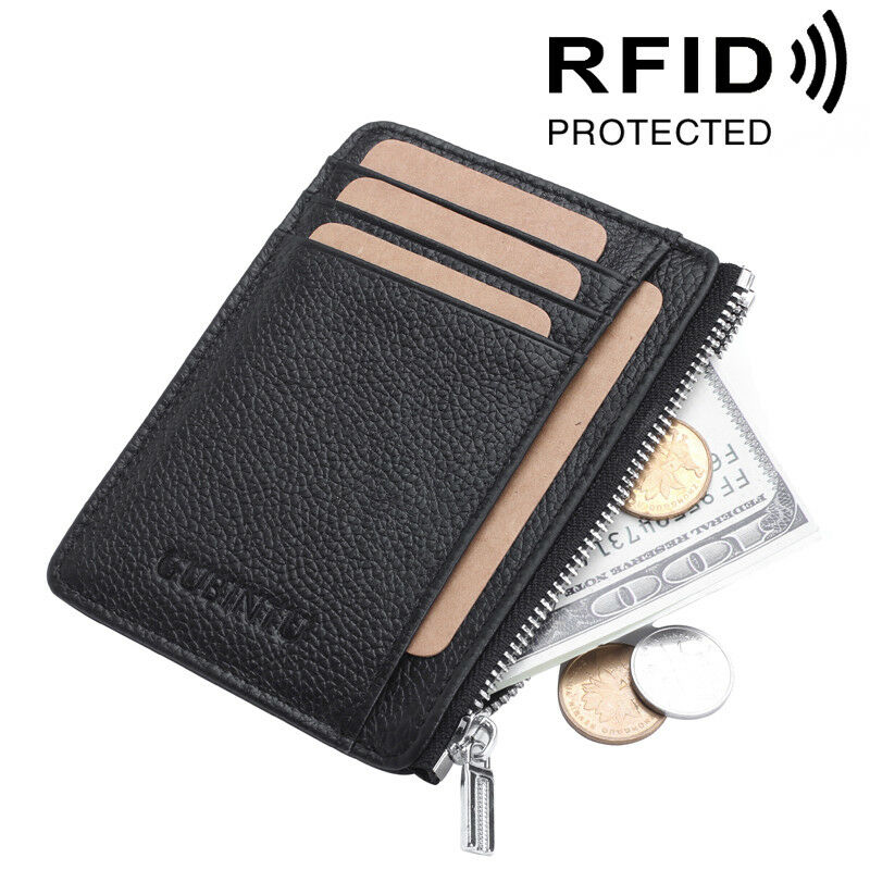 Slim Minimalist Wallet Zipper Wallet Front Pocket Credit Car