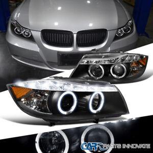 06-08 BMW E90 3-Series 325i 330i 4Dr Black LED Halo Projector Headlights Pair