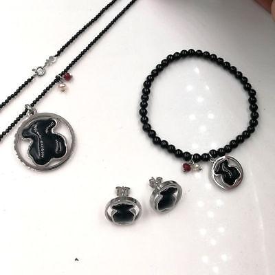 - Teddy Bear Black Agate Pendant Necklace Bracelet Earrings Women Jewelry Set