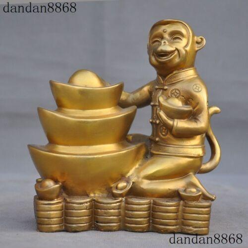 Chinese Brass Fine Feng shui Wealth Auspicious Yuanbao Money Lucky Monkey Statue