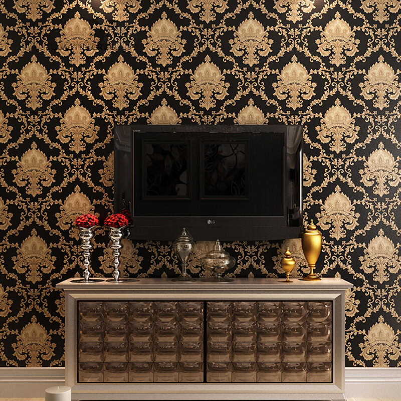 Luxury Black Metallic Gold Texture Vinyl Damask Wallpaper