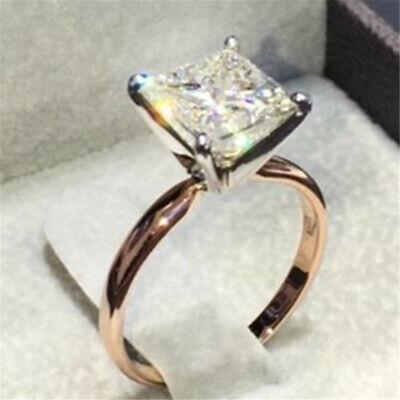 Princess Cut Engagement Square Polished Rhinestone Lady Wedding Band Ring Sz6-10