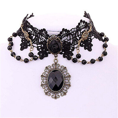 (Lolita Gothic Black Rose Flower Lace Choker Collar Necklace Beads Chain -US)
