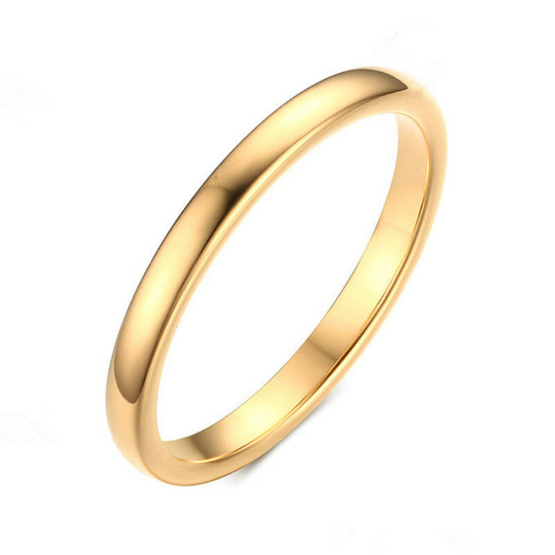Tungsten Carbide High Polish Rose Gold Plated Thin Band 2mm Wedding Band Ring 8 Size