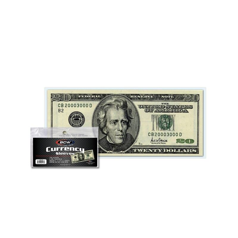 1000 bcw regular currency sleeves, fits up to 6 1/4 x 2 5/8 notes (#cs33)