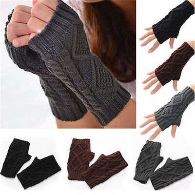 New Men Women Arm Warmer Fingerless Knitted Long Gloves Cute  Mittens S MR