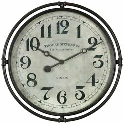 Uttermost Nakul Wall Clock in Smoke Gray and Aged Ivory