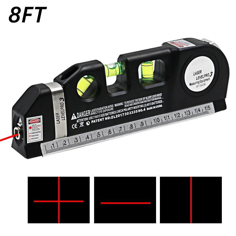 8FT Multipurpose Laser Level Vertical Horizon Measuring Aligner Metric Rulers Home & Garden