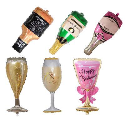 Champagne Bottle Glass Foil Balloons Happy Birthday & Wedding Party Decor Pop  - Birthday Champagne