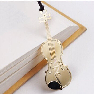1Pc Cute Gold Plated Metal Music Instruments Violin Bookmark Book Paper Reading