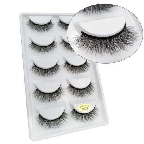 b33fa02cd80 Pack of 5 3D Mink False Eyelashes Wispy Cross Long Thick Soft Fake Eye  Lashes