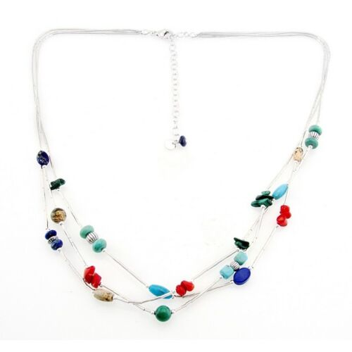 Southwestern Liquid Silver Necklace With Gemstones Made I...