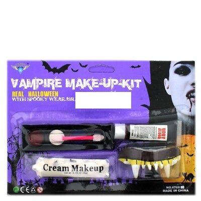 Vampire Make-Up Kit With Spooky Wearable Fangs Halloween Fancy Dress - Wearable Halloween Makeup