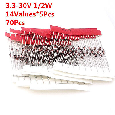 70 Pcs 14values 12w 0.5w Regulator 3.3-33v Zener Diode Assorted Assortment Kit
