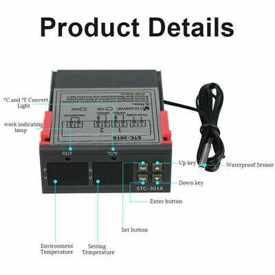 110-220v Dual Digital Temperature Controller Thermostat Probe Sensor Stc-3018 Be