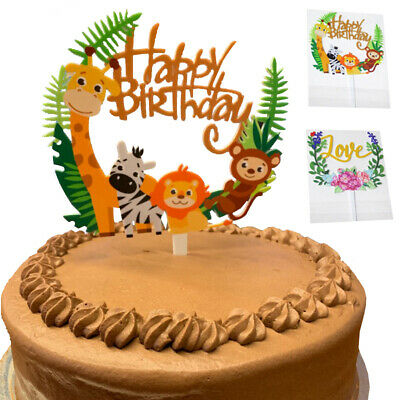 Happy Birthday Party Wild Jungle Safari Animal Zebra Lion Cake Topper Decor Animal Birthday Cakes